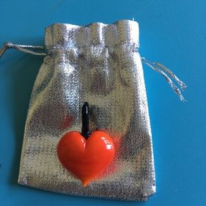 Glass blown heart pendant